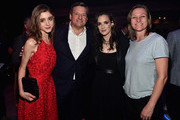 """Actress Natalia Dyer, Chief Content Officer for Netflix Ted Sarandos, actress Winona Ryder and VP Original Content for Netflix, Cindy Holland attend the after party for the premiere of Netflix's """"Stranger Things"""" at Mack Sennett Studios on July 11, 2016 in Los Angeles, California."""