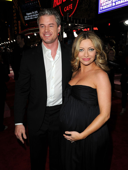 Actor Eric Dane (L) and actress Rebecca Gayheart arrive at the premiere of ...