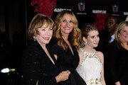 """(L-R) Actresses Shirley MacLaine, Julia Roberts and Emma Roberts arrive at the premiere of New Line Cinema's """"Valentine's Day"""" at Grauman's Chinese Theatre on February 8, 2010 in Hollywood, California."""