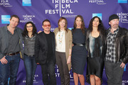 """(L-R) Actor Edward Burns, Ali Hewson, musician Bono,  Tribeca Film Festival co-founder Jane Rosenthal, model Christy Turlington Burns, Morleigh Steinberg and musician The Edge attend the premiere of """"No Woman No Cry"""" during the 2010 Tribeca Film Festival  at Village East Cinema on April 24, 2010 in New York City."""