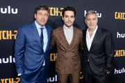 "(L-R) Kyle Chandler, Christopher Abbott and George Clooney attend the premiere of Hulu's ""Catch-22"" on May 07, 2019 in Hollywood, California."