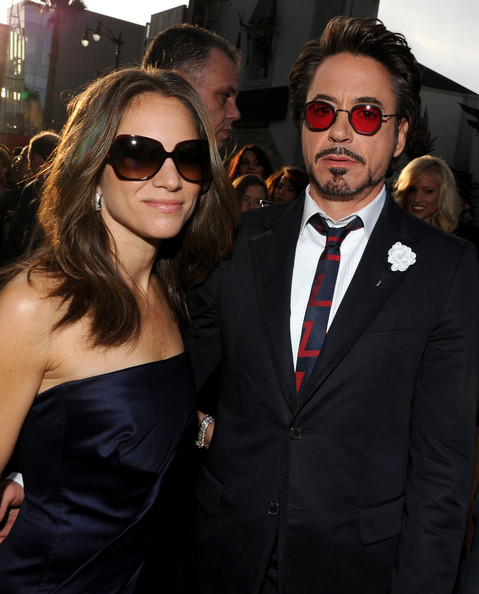 """Executive producer Susan Downey and actor Robert Downey Jr. arrive at the world premiere of Paramount Pictures and Marvel Entertainment's """"Iron Man 2? held at El Capitan Theatre on April 26, 2010 in Hollywood, California."""