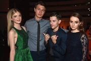 """Actors Elena Kampouris, Ansel Elgort, Travis Tope and Kaitlyn Dever attend the after party for the premiere of Paramount Pictures' """"Men, Women & Children"""" at The Directors Guild Of America on September 30, 2014 in Los Angeles, California."""