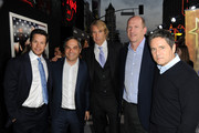 """(L-R) Actor Mark Wahlberg, President/ Paramount Film Group Adam Goodman, director Michael Bay, Vice Chairman of Paramount Pictures Rob Moore, and Paramount Pictures Chairman & CEO Brad Grey arrive at the premiere of Paramount Pictures'.""""Pain & Gain"""" at TCL Chinese Theatre on April 22, 2013 in Hollywood, California."""