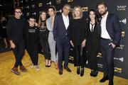 (L-R) Dan Levy, Lea DeLaria, Sarah Levy, Annie Murphy, Eugene Levy, Catherine O'Hara, Emily Hampshire and Dustin Milligan attend the premiere of Pop TV's 'Schitt's Creek' season 4 at ArcLight Hollywood on January 16, 2018 in Hollywood, California.