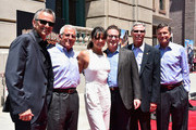 Mark Woodbury, President, Universal Creative, Ron Meyer, Vice Chairman, NBCUniversal, actress Michelle Rodriguez, Larry Kurzweil, President & COO Universal Studios Hollywood, Tom Williams, Chairman, Universal Parks & Resorts and Steve Burke, CEO NBCUniversal attend the premiere press event for the new Universal Studios Hollywood Ride