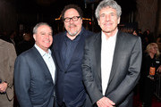 """(L-R) Co-Chairman, The Walt Disney Studios Alan Bergman, Executive Producer Jon Favreau and Co-Chairman and Chief Creative Officer of The Walt Disney Studios Alan Horn arrive at the premiere of Lucasfilm's first-ever, live-action series, """"The Mandalorian,"""" at the El Capitan Theatre in Hollywood, Calif. on November 13, 2019. """"The Mandalorian"""" streams exclusively on Disney+."""