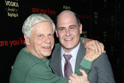 Actor Robert Morse and writer/director Matthew Weiner attend the premiere of 'Are You Here' at ArcLight Hollywood on August 18, 2014 in Hollywood, California.