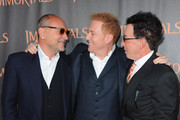 """Producer Gianni Nunnari, Producer/ CEO Relativity Media Ryan Kavanaugh and producer Mark Canton arrive at Relativity Media's """"Immortals"""" premiere presented in RealD 3 at Nokia Theatre L.A. Live at Nokia Theatre L.A. Live on November 7, 2011 in Los Angeles, California."""