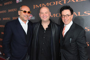 """Producer Gianni Nunnari, composer Trevor Morris and producer Mark Canton arrive at Relativity Media's """"Immortals"""" premiere presented in RealD 3 at Nokia Theatre L.A. Live at Nokia Theatre L.A. Live on November 7, 2011 in Los Angeles, California."""