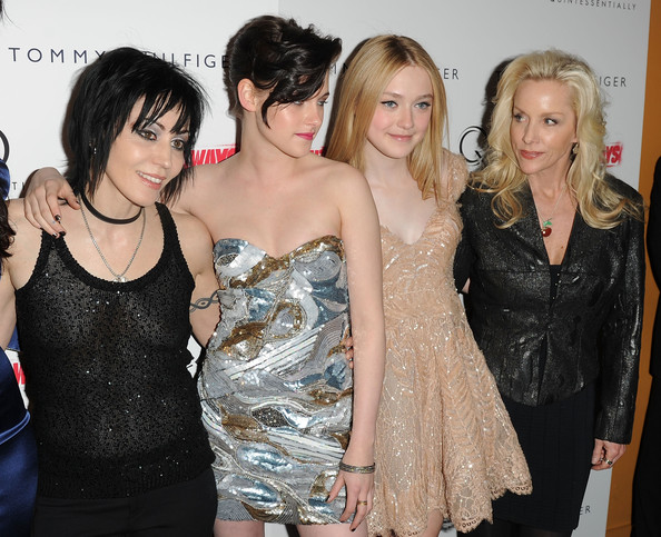 "(L-R) Musician Joan Jett, actress Kristen Stewart, actress Dakota Fanning and musician Cherie Currie attend the premiere of ""The Runaways"" at Landmark Sunshine Cinema on March 17, 2010 in New York City."