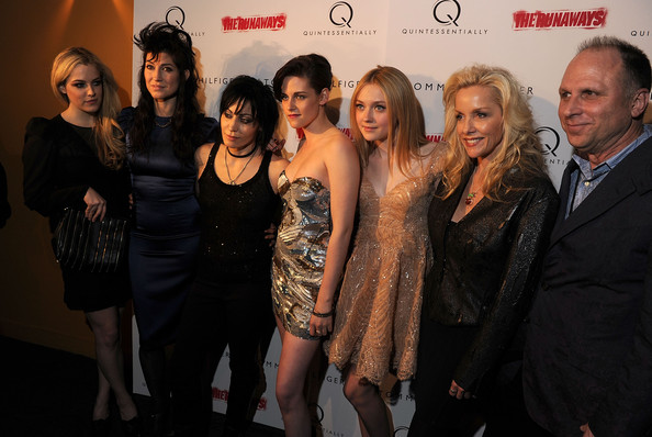 "(L-R) Actress Riley Keough, director Floria Sigismondi, musician Joan Jett, actress Kristen Stewart, actress Dakota Fanning and musician Cherie Currie attend the premiere of ""The Runaways"" at Landmark Sunshine Cinema on March 17, 2010 in New York City."