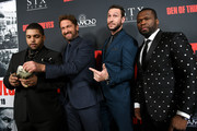 "(L-R) O'Shea Jackson Jr., Gerard Butler, Pablo Schreiber and 50 Cent attend the premiere of STX Films' ""Den of Thieves"" at Regal LA Live Stadium 14 on January 17, 2018 in Los Angeles, California."