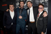 "Tucker Tooley, Pablo Schreiber, Christian Gudegast and Mark Canton attend the premiere of STX Films' ""Den of Thieves"" at Regal LA Live Stadium 14 on January 17, 2018 in Los Angeles, California."