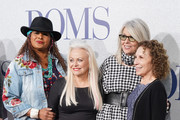"""(L-R) Pam Grier, Jacki Weaver, Diane Keaton and Rhea Pearlman attend the premiere of STX's """"Poms"""" at Regal LA Live on May 01, 2019 in Los Angeles, California."""