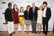 (L-R)    Filmmaker Karen Goodman and Actor Alan Alda (middle) with YoungArts Winners Nile Harris, Analisa Gutierrez, Nadia Alexander, Juliana Sass and Justice Smith attend the Premiere Screening Of The HBO Special Alan Alda: YoungArts MasterClass With Discussion By Alda And YoungArts Alumni on September 5, 2014 in New York City.