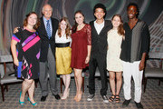 (L-R)  YoungArts Alumna and evenings moderator Zuzanna Szadkowski and Actor Alan Alda with YoungArts Winners Nadia Alexander, Analisa Gutierrez, Justice Smith, Juliana Sass and Nile Harris attend the Premiere Screening Of The HBO Special Alan Alda: YoungArts MasterClass With Discussion By Alda And YoungArts Alumni on September 5, 2014 in New York City.