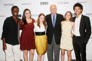 (L-R)   Actor Alan Alda (middle) with YoungArts Winners Nile Harris, Analisa Gutierrez, Nadia Alexander, Juliana Sass and Justice Smith attend the Premiere Screening Of The HBO Special Alan Alda: YoungArts MasterClass With Discussion By Alda And YoungArts Alumni on September 5, 2014 in New York City.