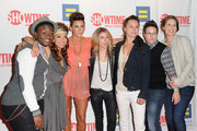 """TV personalities Sajdah Golde, Francine Beppu, Romi Klinger, Claire Moseley, Whitney Mixter, Kacy Boccumini, and Cori  Boccumini arrive to the premiere of Showtime's """"The Real L Word"""" on June 1, 2011 in West Hollywood, California."""