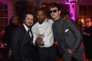 """Director Edgar Wright, actor Jamie Foxx and actor Ansel Elgort attend the after party for the premiere of Sony Pictures' """"Baby Driver"""" on June 14, 2017 in Los Angeles, California."""