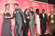 "Actors Lily James, Ansel Elgort, director Edgar Wright, actors Jon Hamm, Eiza Gonzalez, Jamie Foxx and Flea attend the premiere of Sony Pictures' ""Baby Driver"" at Ace Hotel on June 14, 2017 in Los Angeles, California."