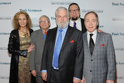 L-R) Producer Farley Ziegler, artist David Hockney, producer Tim Jenison, magicians Penn Jillette and Teller attend the premiere of Sony Pictures Classics' 'Tim's Vermeer' at Pacific Design Center on January 29, 2014 in West Hollywood, California.