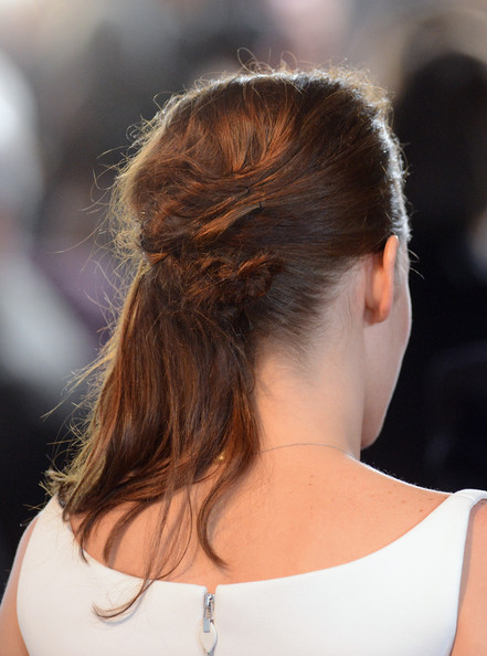 """Actress Kristen Stewart (hair detail) arrives at the premiere of Summit Entertainment's """"The Twilight Saga: Breaking Dawn - Part 2"""" at Nokia Theatre L.A. Live on November 12, 2012 in Los Angeles, California."""