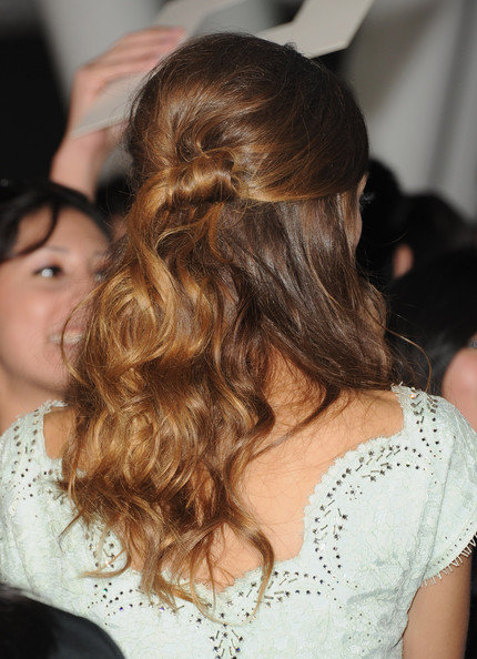 """Actress Angela Sarafyan (hair detail) arrives at the premiere of Summit Entertainment's """"The Twilight Saga: Breaking Dawn - Part 2"""" at Nokia Theatre L.A. Live on November 12, 2012 in Los Angeles, California."""