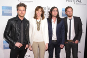 """(L to R)  Jared Followill, Co-founder of Tribecca Film Festival Jane Rosenthal, Nathan Followill, and Caleb Followill attend the premiere of """"Talihina Sky: The Story of Kings of Leon"""" during the 2011 Tribeca Film Festival at BMCC Tribeca PAC on April 21, 2011 in New York City."""