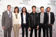 """(L to R)  Casey McGrath, Co-founder of Tribecca Film Festival Jane Rosenthal, Nathan Followill, Jared Followill, Stephen C. Mitchell, and Caleb Followill attend the premiere of """"Talihina Sky: The Story of Kings of Leon"""" during the 2011 Tribeca Film Festival at BMCC Tribeca PAC on April 21, 2011 in New York City."""