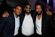 "(L-R) Actors Laz Alonso, Mike Epps and DeRay Davis pose at the after party for the premiere of TriStar Pictures' ""Jumping The Broom"" at Boulevard3 on May 4, 2011 in Los Angeles, California."