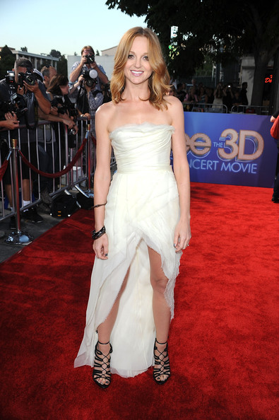 "Actress Jayma Mays arrives at the Premiere Of Twentieth Century Fox's ""Glee The 3D Concert Movie"" at the Regency Village Theater on August 6, 2011 in Westwood, California."