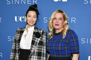 "(L-R) Jessica Biel and Michelle Purple arrive at the Premiere of USA Network's ""The Sinner"" Season 3 at The London West Hollywood on February 03, 2020 in West Hollywood, California."