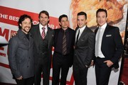 """(L-R) Actors Thomas Ian Nicholas, Seann William Scott, actor/producer Jason Biggs, actors Eddie Kaye Thomas, and Chris Klein arrive at the premiere of Universal Pictures' """"American Reuinion"""" at Grauman's Chinese Theatre on March 19, 2012 in Hollywood, California."""