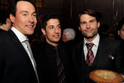 """(L-R) Actor Chris Klein, actor/executive producer Jason Biggs and actor Seann William Scott pose at the after party for the premiere of Universal Pictures' """"American Reunion"""" at the Roosevelt Hotel on March 19, 2012 in Los Angeles, California."""