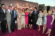 """(L-R) Actor Chris O'Dowd, director/executive producer Paul Feig, producer Judd Apatow, actors Maya Rudolph, Kristen Wiig, Rose Byrne, Melissa McCarthy, Jon Hamm, Ellie Kemper, Wendi McLendon-Covey and Rebel Wilson attend the Premiere Of Universal Pictures' """"Bridesmaids"""" at Mann Village Theatre on April 28, 2011 in Westwood, California."""