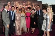 """L-R) Director/executive producer Paul Feig, producer Judd Apatow, actors Maya Rudolph, Kristen Wiig, Rose Byrne, Melissa McCarthy, Jon Hamm, Ellie Kemper and Wendi McLendon-Covey attend the Premiere Of Universal Pictures' """"Bridesmaids"""" at Mann Village Theatre on April 28, 2011 in Westwood, California."""