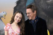"""Carmel Laniado and Robert Downey Jr. attend the premiere of Universal Pictures' """"Dolittle"""" at Regency Village Theatre on January 11, 2020 in Westwood, California."""