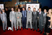 (L-R) Actors Dave Franco, Jerrod Carmichael, actor/producer Seth Rogen, actor Zac Efron, director Nicholas Stoller, actor Ike Barinholtz, producer Evan Goldberg, producer James Weaver, actor Christopher Mintz-Plasse and actress Halston Sage attend Universal Pictures' 'Neighbors' premiere at Regency Village Theatre on April 28, 2014 in Westwood, California.