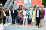 (L-R) Eugenio Derbez, Nick Kroll, Hannibal Buress, Harrison Ford, Bobby Moynihan, Tiffany Haddish, Eric Stonestreet, Kevin Hart, Kenzo Kash Hart, Patton Oswalt, Lake Bell, Dana Carvey and Senna Guemmour attend the Premiere of Universal Pictures' 'The Secret Life Of Pets 2' at Regency Village Theatre on June 02, 2019 in Westwood, California.