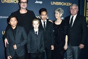 Actor Brad Pitt (C), (L-R) Pax Thien Jolie-Pitt, Shiloh Nouvel Jolie-Pitt,, Maddox Jolie-Pitt, Jane Pitt, and William Pitt arrive at the Premiere Of Universal Studios' 'Unbroken' at TCL Chinese Theatre on December 15, 2014 in Hollywood, California.