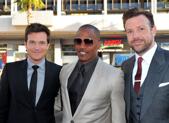 "(L-R) Actors Jason Bateman, Jamie Foxx, and Jason Sudeikis arrive at the premiere of Warner Bros. Pictures' ""Horrible Bosses"" at Grauman's Chinese Theatre on June 30, 2011 in Hollywood, California."