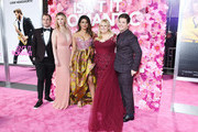 Brandon Scott Jones, Betty Gilpin, Priyanka Chopra, Rebel Wilson and Adam Devine attend the premiere of  Isn't It Romantic at The Theatre at Ace Hotel on February 11, 2019 in Los Angeles, California.