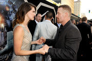 """(L-R) Actors Heather Doerksen and Max Martini arrive at the premiere of Warner Bros. Pictures' and Legendary Pictures' """"Pacific Rim"""" at Dolby Theatre on July 9, 2013 in Hollywood, California."""