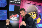 "Josh Duhamel (R) and son Axl Duhamel attend the premiere of Warner Bros. Pictures' ""The Lego Movie 2: The Second Part"" at Regency Village Theatre on February 02, 2019 in Westwood, California."