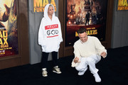 """Recording artists Yolandi Visser (L) and Ninja of Die Antwoord attend the premiere of Warner Bros. Pictures' """"Mad Max: Fury Road"""" at TCL Chinese Theatre on May 7, 2015 in Hollywood, California."""