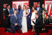 "Jeff Tomsic, Ed Helms, Jon Hamm, Hannibal Buress, Annabelle Wallis, Jake Johnson, Isla Fisher, Steve Berg, Jeremy Renner and Leslie Bibb attend the Premiere Of Warner Bros. Pictures And New Line Cinema's ""Tag"" at Regency Village Theatre on June 7, 2018 in Westwood, California."