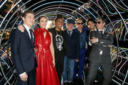 """Tye Sheridan, Olivia Cooke, Lena Waithe, Steven Spielberg, Simon Pegg, Win Morisaki and Ben Mendelsohn attend the Premiere of Warner Bros. Pictures' """"Ready Player One"""" at Dolby Theatre on March 26, 2018 in Hollywood, California."""