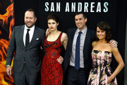 "(L-R) Producer Beau Flynn, actress Alexandra Daddario, director Brad Peyton and actress Carla Gugino attend the premiere of Warner Bros. Pictures' ""San Andreas"" at the TCL Chinese Theatre on May 26, 2015 in Hollywood, California."