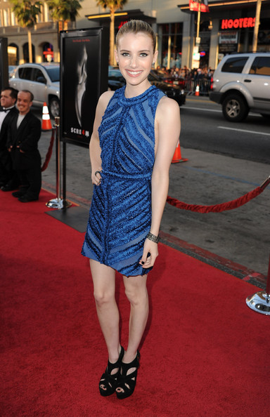 "Actress Emma Roberts arrives at the premiere of The Weinstein Company's ""Scream 4"" held at Grauman's Chinese Theatre on April 11, 2011 in Hollywood, California."